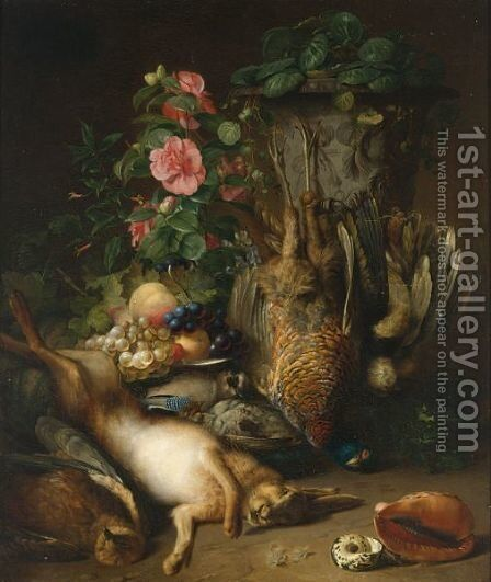 A Hunting Still Life With A Hare And Pheasant, Fruit And Flowers by Adolf Weiss - Reproduction Oil Painting