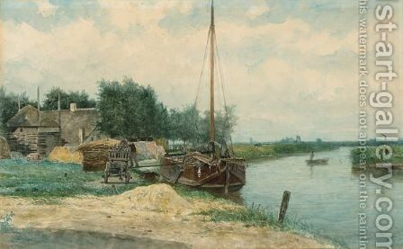 Moored Boats On The Eem, Baarn by Johan Conrad Greive - Reproduction Oil Painting
