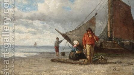Fisherfolk On The Beach by Andreas Scheerboom - Reproduction Oil Painting