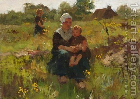 A Summerday In The Fields by Jacques Abraham Zon - Reproduction Oil Painting