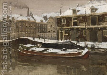 View Of The Kleine Gracht, Utrecht by (after) Willem Witsen - Reproduction Oil Painting