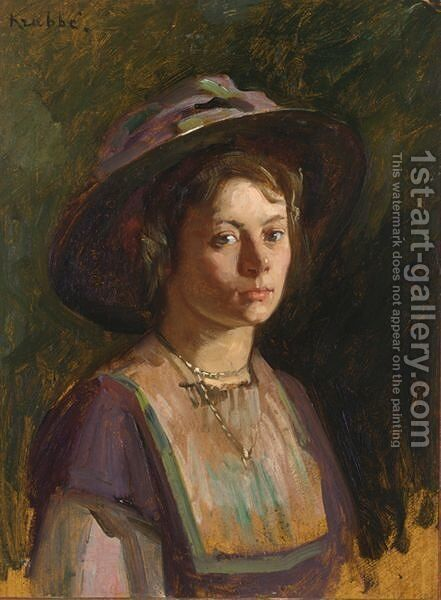 A Portrait Of A Young Lady by Hendrik Maarten Krabbe - Reproduction Oil Painting