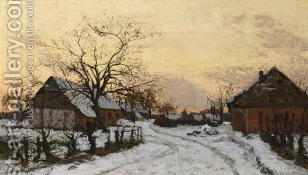 Farmhouses In The Snow by Alphonse Asselbergs - Reproduction Oil Painting