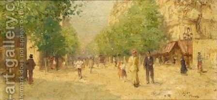 A Streetscene In Paris by Dutch School - Reproduction Oil Painting