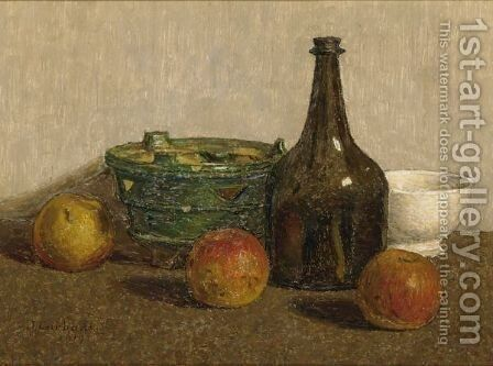 A Still Life With Apples, A Bottle And Earthenware by Jan Carbaat - Reproduction Oil Painting