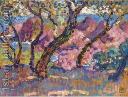 A L'Ombre Des Pins by Theo van Rysselberghe - Reproduction Oil Painting