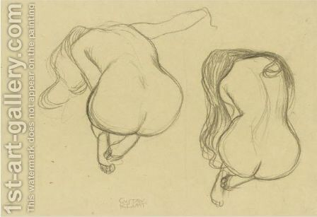 Studies Of A Seated Nude From Behind With Long Hair by Gustav Klimt - Reproduction Oil Painting