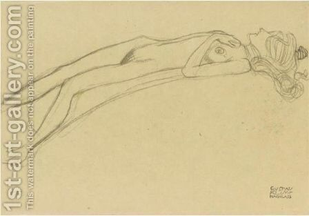 Lying Girl Nude On Her Back, The Right Hand Above Her Head by Gustav Klimt - Reproduction Oil Painting