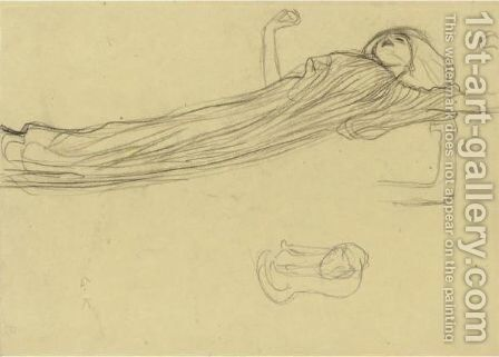 Floating Draped Figure To The Right, Repetition Of The Left Arm by Gustav Klimt - Reproduction Oil Painting