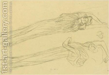 Two Studies Of A Floating Draped Figure To The Right by Gustav Klimt - Reproduction Oil Painting