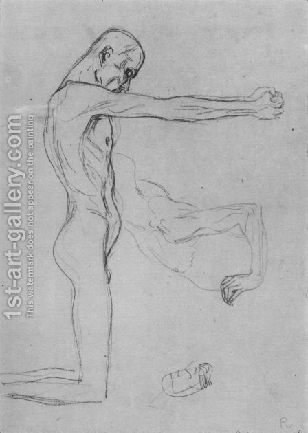 Kneeling Male Nude With Sprawled Out Arms, Male Torso by Gustav Klimt - Reproduction Oil Painting