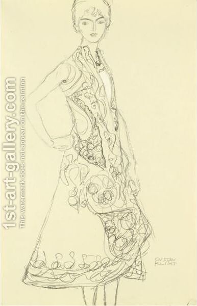 Woman In Richly Patterned Dress, Right Hand Resting On Hip by Gustav Klimt - Reproduction Oil Painting