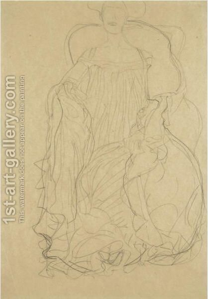 Adele Bloch-Bauer Seated From The Front, A Boa Draped Over Her Left Shoulder by Gustav Klimt - Reproduction Oil Painting