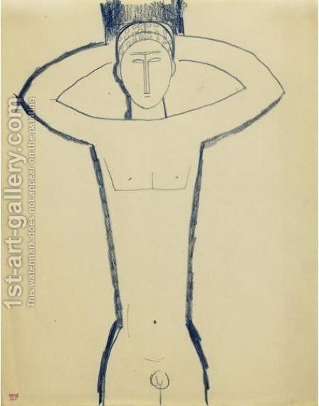 Cariatide Masculine, Mains Derriere La Tete by Amedeo Modigliani - Reproduction Oil Painting