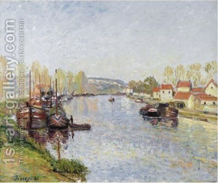 Chalands Sur Le Loing - Le Loing A Saint-Mammes by Alfred Sisley - Reproduction Oil Painting