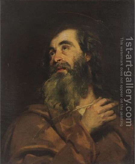 Head Of An Evangelist by Italian School - Reproduction Oil Painting