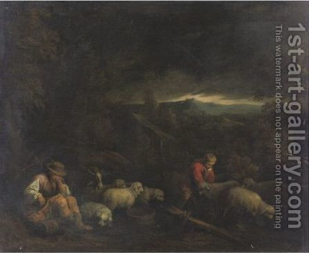 Landscape With Herdsmen And Their Flock by (after) Jacopo Bassano (Jacopo Da Ponte - Reproduction Oil Painting