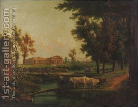 View Of The Temples Of Paestum by Continental School - Reproduction Oil Painting