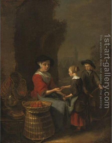 The Fruit Seller by Domenicus Van Tol - Reproduction Oil Painting