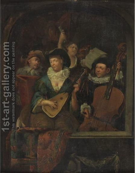 A Merry Company Playing Music by (after) Eglon Van Der Neer - Reproduction Oil Painting