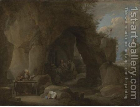 Hermits Writing In A Rocky Landscape by David The Younger Teniers - Reproduction Oil Painting