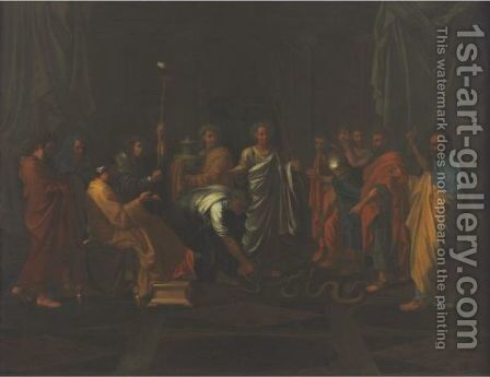 Moses Changing Aaron's Rod Into A Serpent by (after) Nicolas Poussin - Reproduction Oil Painting