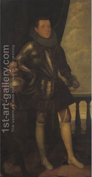 Portrait Of A Gentleman And A Dwarf by Spanish School - Reproduction Oil Painting