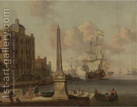 A Capriccio Of A Mediterranean Harbour, With Figures Conversing On The Waterfront, A Palazzo Beyond by Jacobus Storck - Reproduction Oil Painting