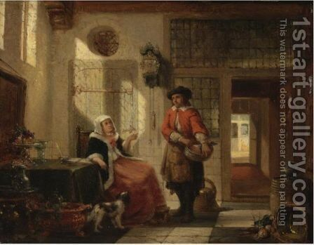 Couple In An Interior by Dutch School - Reproduction Oil Painting