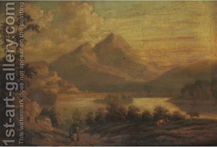 Extensive Landscape With Travelers, Location Said To Be Chilchester by English School - Reproduction Oil Painting