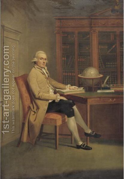 Portrait Of A Gentleman In A Library by (after) David Allan - Reproduction Oil Painting
