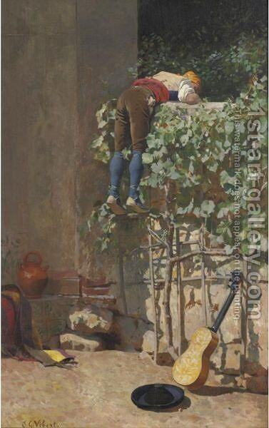 Sneaking A Peek by Jehan Georges Vibert - Reproduction Oil Painting