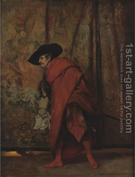 Polonius Behind The Curtain by Jehan Georges Vibert - Reproduction Oil Painting