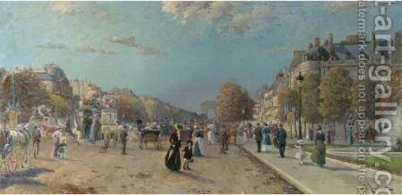 Champs-Elysees by Jaques L'Huillier - Reproduction Oil Painting