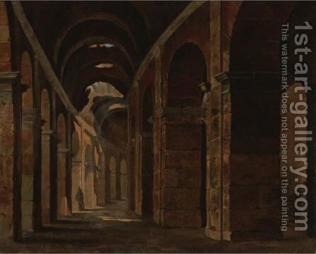 Interior Of The Colosseum, Rome by (after) Francois Marius Granet - Reproduction Oil Painting