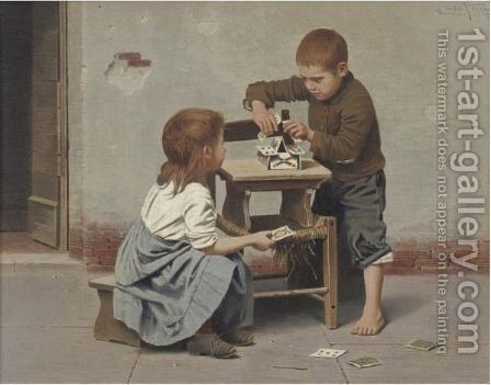 A Game Of Cards 2 by Giulio Del Torre - Reproduction Oil Painting