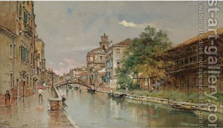A Rainy Day On The Canal by Antonio Maria de Reyna - Reproduction Oil Painting
