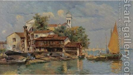 The Boatbuilders, Venice by Antonio Maria de Reyna - Reproduction Oil Painting