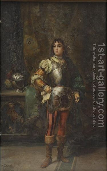 A Knight In Shining Armor by Cesare-Auguste Detti - Reproduction Oil Painting