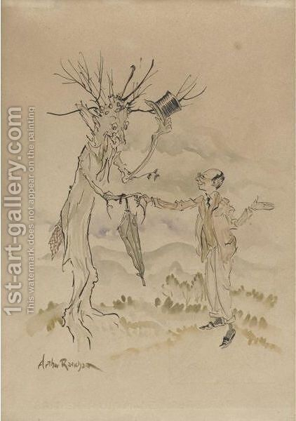 Self-Portrait With Tree by Arthur Rackham - Reproduction Oil Painting