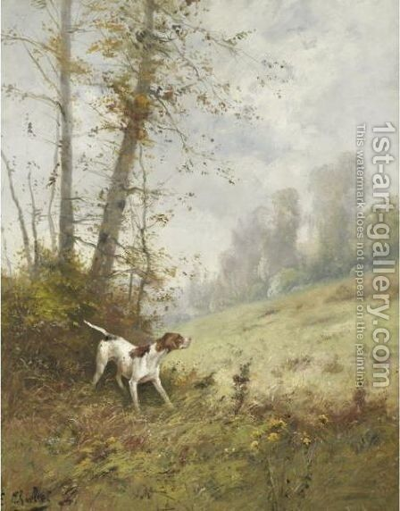 Setter In A Landscape by Emile Charlet - Reproduction Oil Painting
