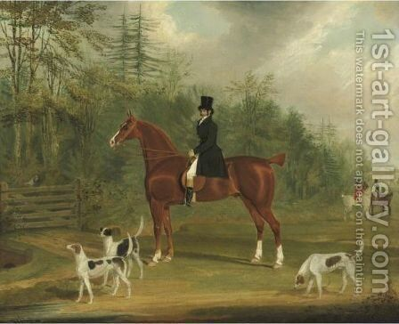 Edward Brockman, Esquire, M.P. With The East Kent Hounds by James Pollard - Reproduction Oil Painting