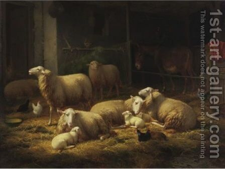 Sheep In A Barn by Theo van Sluys - Reproduction Oil Painting