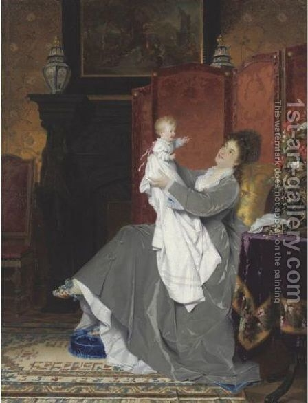 Playing With Baby by Conrad Kiesel - Reproduction Oil Painting
