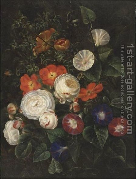Still Life Of Roses And Bind Weeds by (after) William Hammer - Reproduction Oil Painting