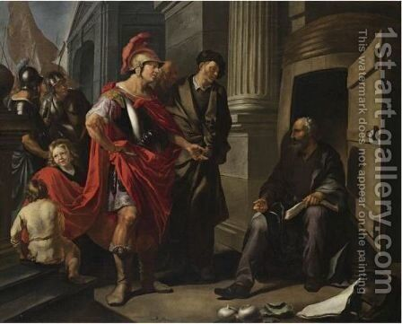 Alexander The Great And Diogenes by Hendrick Heerschop or Herschop - Reproduction Oil Painting