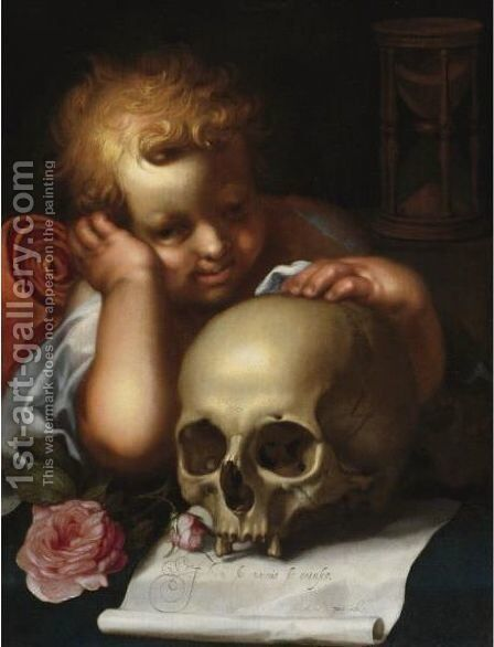 Vanitas With A Putto Resting His Hand On A Skull by Abraham Bloemaert - Reproduction Oil Painting