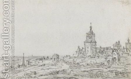 A View Of Cleves From The Heidelberg Mill, With The City Walls And Heidelberg Gate by Jan van Goyen - Reproduction Oil Painting