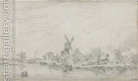 The Mill 'De Kat' And The Lime Kiln At The Zuider Buiten Spaarne, Near Haarlem, With Men Unloading Boats by Jan van Goyen - Reproduction Oil Painting