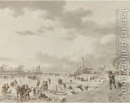 An Extensive Winter Landscape, With Figures On A Frozen River Leading To Open Water In The Distance by Jacob Cats - Reproduction Oil Painting